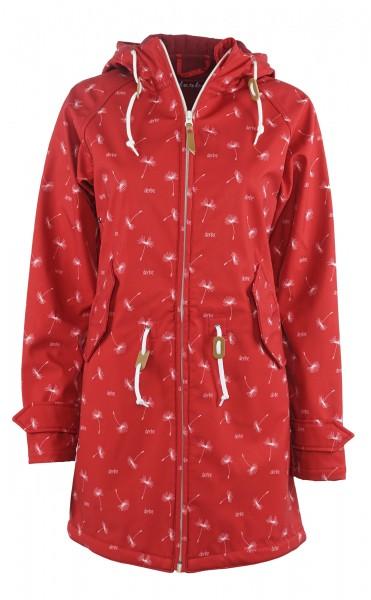 Derbe Island Friese Pusteblume Rot Damen Softshell Jacke