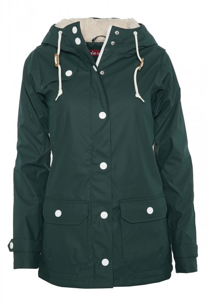 Derbe Peninsula Cozy Grün Damen Regenjacke Teddy-Fell