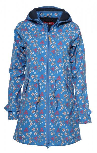 Derbe Island Friese Kirschblüten Blau Softshell Damen Mantel