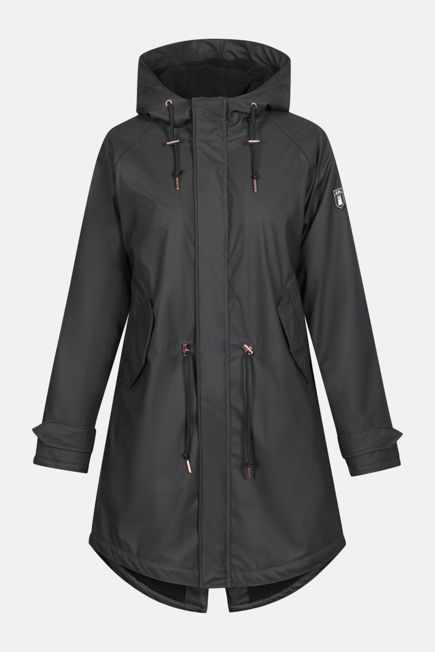 Derbe Travel Cozy Mono Friese Damen Regenjacke Phantom Schwarz