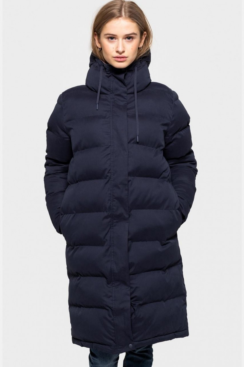 Selfhood Puffer Jacket Damen Wintermantel Steppmantel Navy Dunkelblau