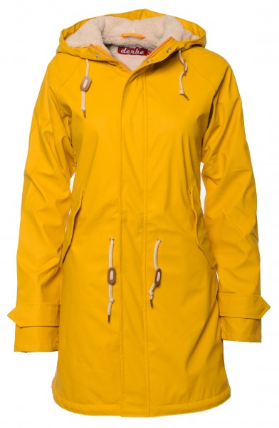 Derbe Travel Cozy Friese Gelb Damen Regenjacke