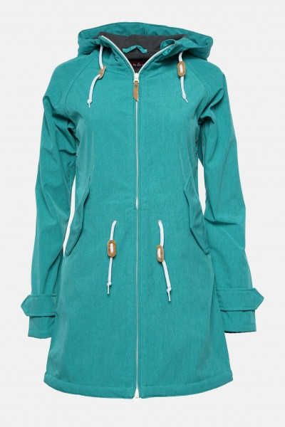 Derbe Island Friese Türkis Melange Softshell Damen Mantel