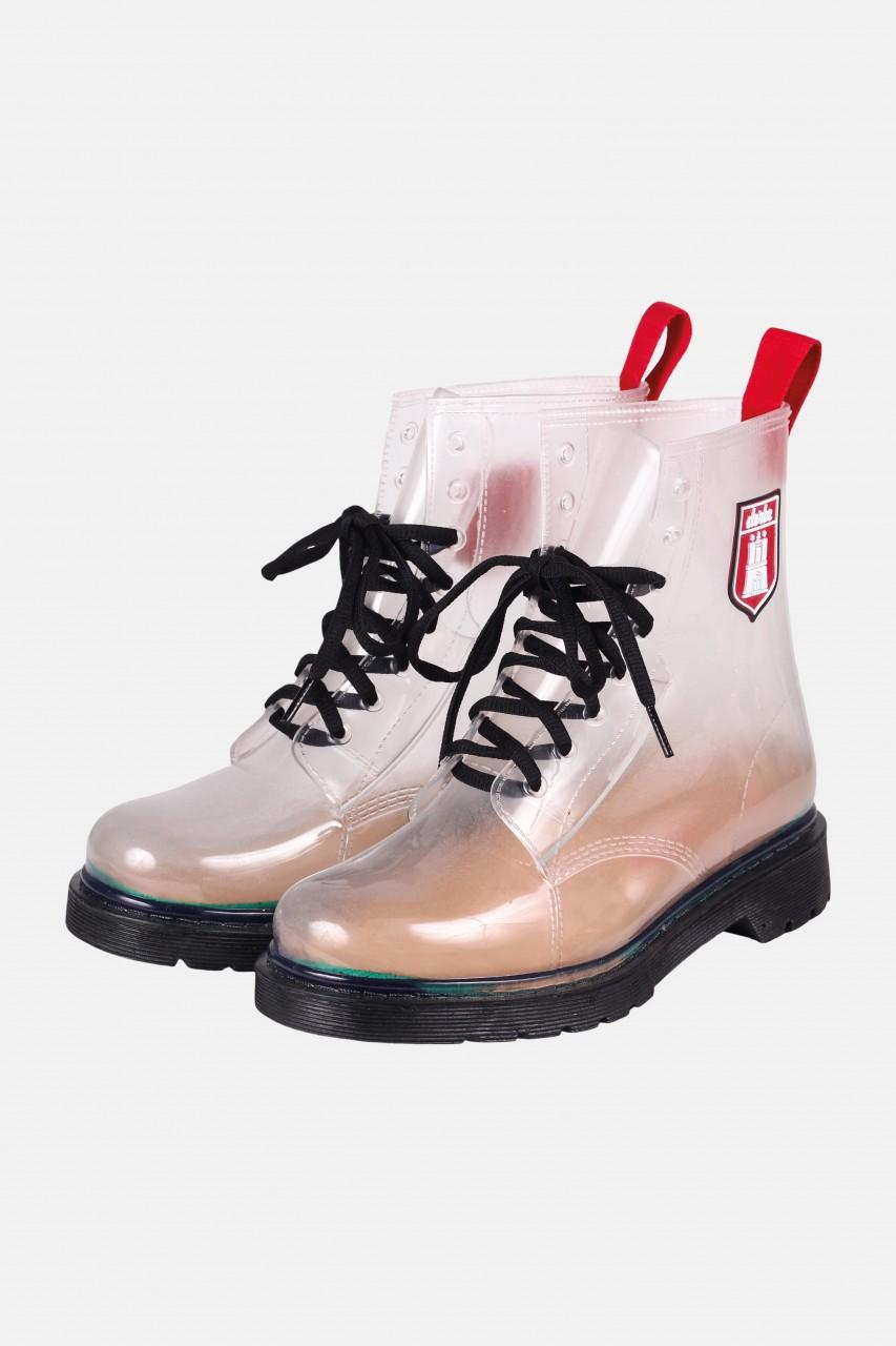 Derbe Dr. Gum Puuschen Transparent Schwarz Gummistiefel Boots Halbschuhe