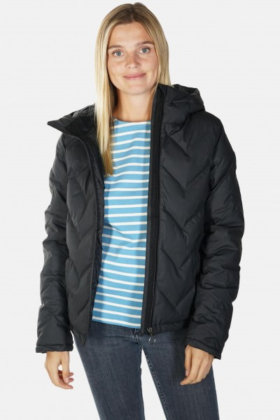 Derbe Interlink Damen Winterjacke Schwarz Kurz Daune Vegan