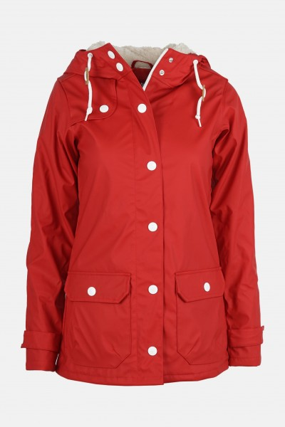 Derbe Peninsula Cozy Rot Damen Regenjacke Teddy-Fell