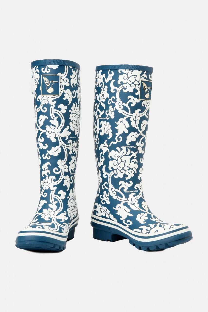 Evercreatures Gummistiefel - Delft - Blau Weiß Gemustert